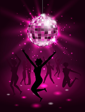 Silhouette People Dancing in Night-club, Disco Ball, Glitter Party Background