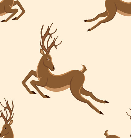 Seamless Pattern with Jumping Deers, Retro Texture with Moving Stags Stock Photo
