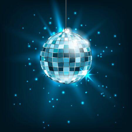 Blaue Disco-Kugel mit hellen Strahlen. Glitter Glänzender Hintergrund Standard-Bild - 89767581