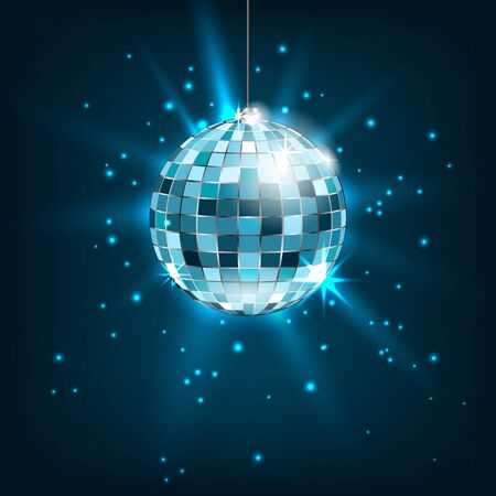 Blue Disco Ball with Light Rays. Glitter Shiny Background Stock Photo