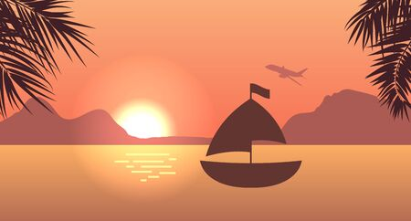 Sunrise or Sunset, Sea, Mountain and Palm Trees. For Print, Create Videos or Web Graphic Design