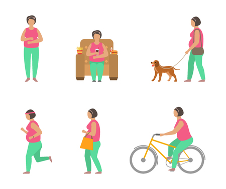 Combating Obesity Through Sports. Fat Woman Walking Dog, Bicycling, Jogging Stock Photo