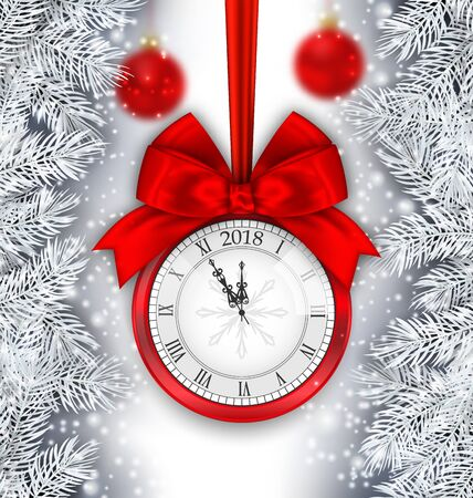 New Year Shimmering Background with Clock and Silver Branches Stock Photo
