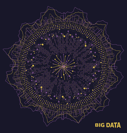 Visualisation de données volumineuses, éléments de fractale avec lignes et points, tableau de structure abstraite visuelle illustration vecteur Banque d'images - 92479267