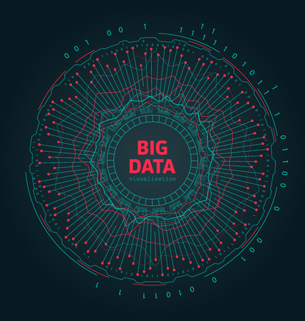 Abstract 3D Big Data Visualization. Futuristic Infographics Design - Illustration Vector 向量圖像