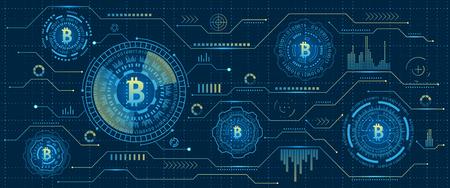Mining Bitcoin Cryptocurrency, Digital Stream. Futuristic Money. Blockchain. Cryptography