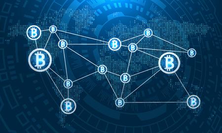 Bitcoins on World Map, BTC, Virtual Money Transfer Vector Illustration