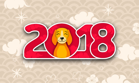 Happy Chinese New Year 2018 Card with Dog, Abstract Eastern Background Design Illustration