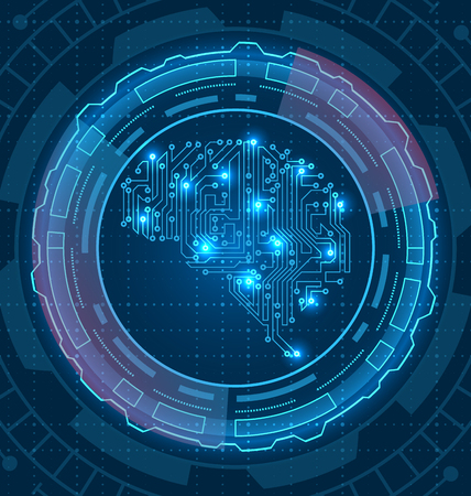 Brain is Composed Circuit Texture. Artificial Intelligence with Hud - Illustration Vector