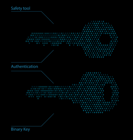 Binary Code Password, Safety Tool - Illustration Vector
