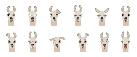 Heads of Lama with Different Emotions - Smiling, Sad, Anger, Aggression, Drowsiness, Fatigue, Malice, Surprise Fear - Illustration Vector