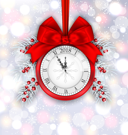 New Year Decoration with Clock on Light Background - Illustration Vector