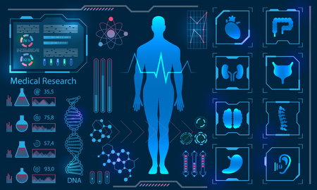 Medical Health Care concept with Human Virtual Body Hi Tech Diagnostic Panel Illustration
