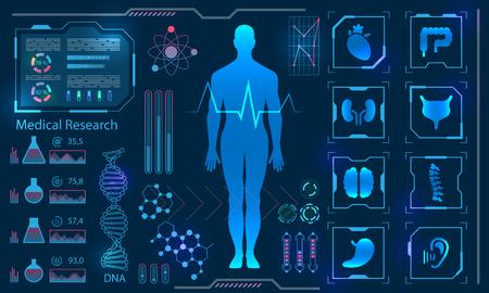 Medical Health Care concept with Human Virtual Body Hi Tech Diagnostic Panel Vectores
