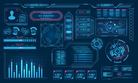 Futuristic Virtual Graphic User Interface, HUD Elements  イラスト・ベクター素材