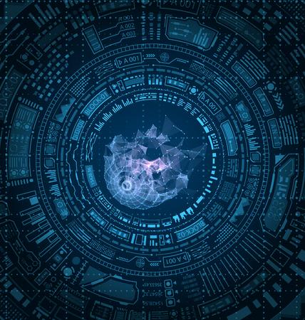 Futuristic HUD Elements Design, Techno Background vector illustration Иллюстрация