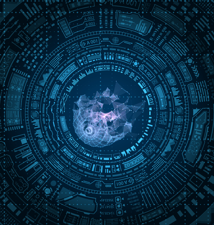 Futuristic HUD Elements Design, Techno Background vector illustration Illustration