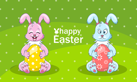 Cartoon Rabbits Couple with Eggs for Happy Easter