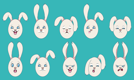 Set of Emotions of Easter eggs with Ears Illustration