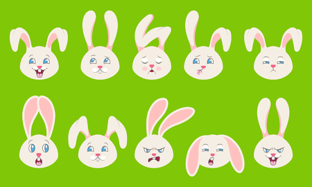 Heads of Rabbit with Different Emotions - Cheerful, Sad, Thoughtfulness, Funny, Drowsiness, Fatigue, Malice