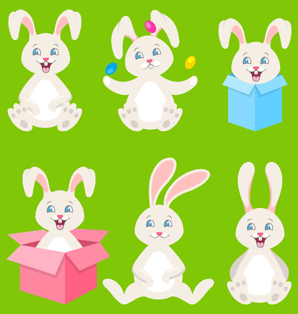 Collection of Happy Easter Bunnies with Eggs, Gift Boxes, Cute Rabbits