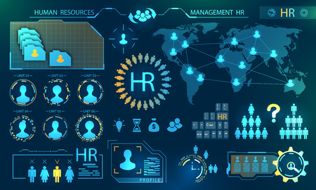 HUD Elements of Search Human Resources. Profile, Resume, Candidate, Analytics of Select Leader of Teamwork concept