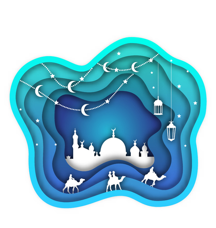 Ramadan Kareem Background, Mosque, Lanterns, Moon, Camels. Islamic Design Cut Paper Template - Illustration Vector