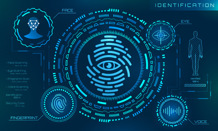 Biometric Identification Personality, Scanning Modern Access Control, Technology Recognition Authentication Reklamní fotografie - 101062376