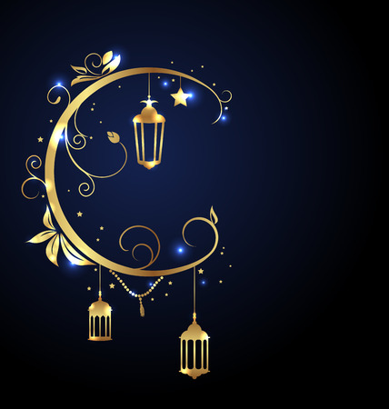 Ornamental Islamic Design for Ramadan Kareem, Moon, Stars, Traditional Lanterns