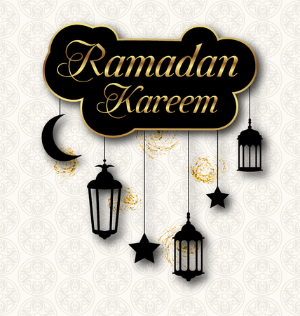 Ramadan Kareem Greeting Card with Traditional Lanterns. Islamic Template