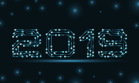 Text 2019 Made in Circuit Texture, Template for Happy New Year Reklamní fotografie - 122411947