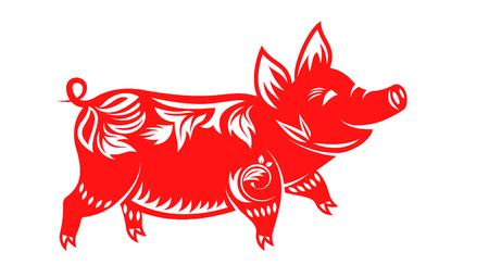 Chinese Zodiac Sign for New Year, Floral Ornamental Pig Isolated
