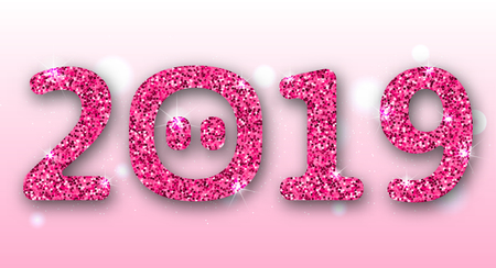 2019 Text with Cartoon pigs Nose, Pink Glitter Surface for Happy New Year Vector Illustration