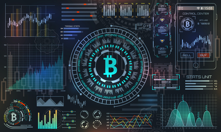 Bitcoin with HUD Elements, BTC, Bit Coin, Virtual Money, Crypto Currency