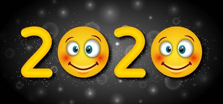 2020 Text, Template for Happy New Year with Cheerful Emoticons