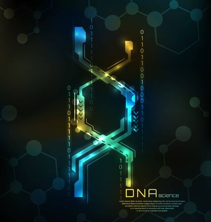 Abstract DNA Structure. Medical Science Background, Genetic Spiral - Illustration Vector