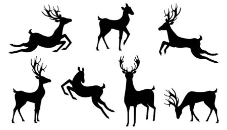 Set Silhouettes Deers Isolated. Jumping and Running Reindeers, Stags - Illustration Vector Stock Illustratie