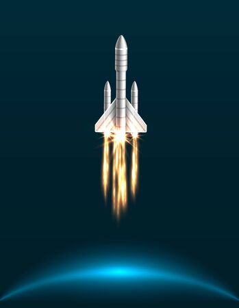 Orbital Spacecraft in Outer Space with Engines at Full Throttle Illustration