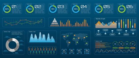 Futuristic Technology Interface for Presentation. Management Data Screen with Colored Charts and Diagrams - Illustration Vector Zdjęcie Seryjne - 132546335