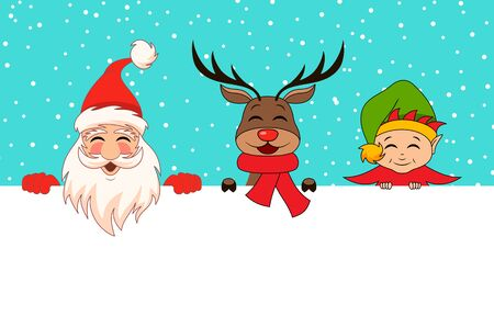 Funny Santa Claus, Christmas Deer, Elf. Cartoon Characters Friends with Clean Sheet - Illustration Vector