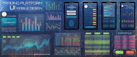 Web Design Template for Trading Platform. Trader Tools, Statistics and Graphs - Illustration Vector