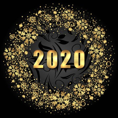 2020 Text, Golden Shimmer Design with Light Snowflakes for Happy New Year