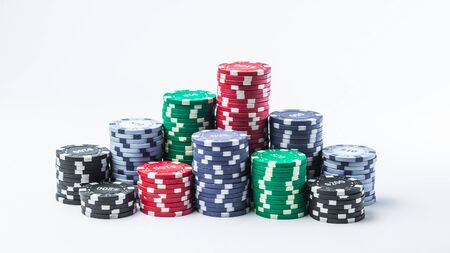 Stack of poker chips on a white background Banque d'images - 135168343