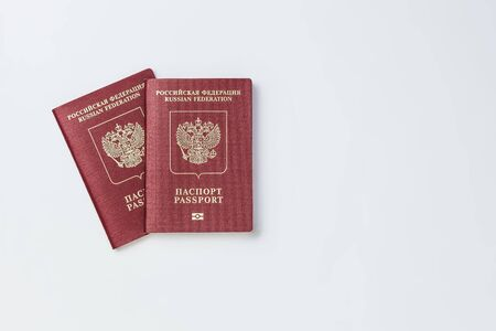 Two Russian passports on a white background isolate