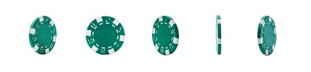 Poker chips turn on a white background Banque d'images - 134842953