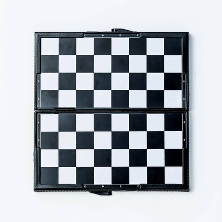 black and white Wooden chessboard top view Banque d'images - 134843124