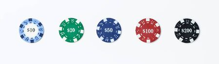 Set of poker chips isolate Banque d'images - 134843122
