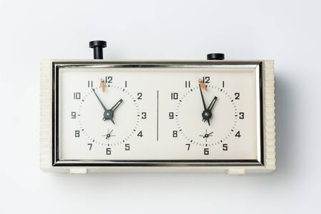 chess clock on a white background Banque d'images - 134843125