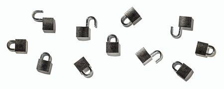 Set of padlock on white background isolate