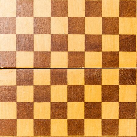 old Wooden chessboard top view